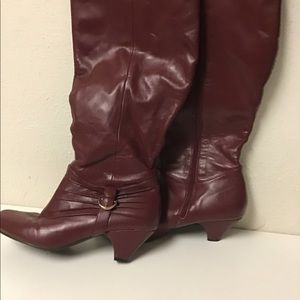 Shoes - Burgundy, wide calf, knee-high boots-9